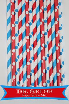 Dr. Seuss Paper Straw Mix #2 #dr seuss # party red blue striped paper straws