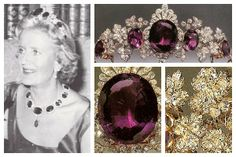 The Tavistock Amethyst tiara worn here by Lydia Russell, Duchess of Bedford. A large Siberian amethyst mounted as a jewel with diamond-set honeysuckle motifs, c. 1810. At a later date - around 1870 - it was made the centre of this amethyst and diamond vine leaf tiara with more amethysts. In the language of precious stones, the amethyst stands for devotion. See earlier pin for more details.