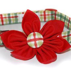 Christmas Plaid Collar Flower,,,, Dog Collar Accessory