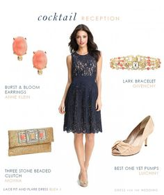 Navy lace dress for styled for a spring wedding with coral and gold