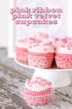 Valentine's Day recipes, desserts, ideas, snacks | Pink Ribbon Pink Velvet Cupcakes For Breast Cancer Awareness Fundraisers #ecloth #pink #thinkpink