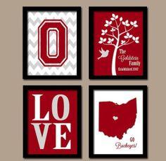 chevron monogram, gift, buckey, famili chevron, custom famili, ohio state university, ohio state decor, colleg, decor idea