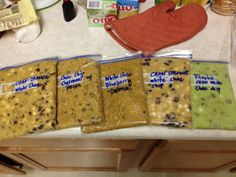 Great DIY for cookies. I have pre-made 5 different types of homemade cookies! I thought this was a really great idea to pack them into sturdy ziplock bags and flatten them evenly to let them sit and cool for a day or even freeze them for another time. Tomorrow I plan on measuring, cutting and baking them in the oven without having to get messy by rolling them into little balls. I can cut them into little squares and once they bake, they will turn into a perfect sized cookies.  Love it.