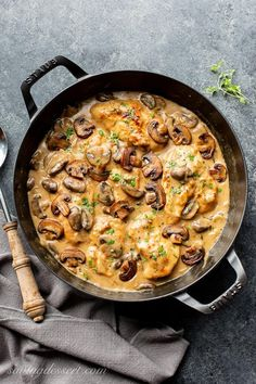 Tender and flavorful, this Skillet Chicken and Mushroom Wine Sauce is easy enough for a weeknight family dinner and good enough for an elegant dinner party with your best company. #chickenmushroomsrecipes #chickenandmushroomsrecipe #skilletchicken #tenderchicken #easychicken #mushroomsauce #mushroomwinesauce #dinner #companyworthymeal #mushroomsauce