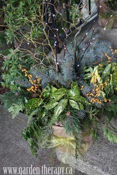 front door, green planter, holiday planter, winter planter