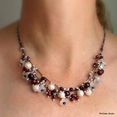 Frosty Flowers,Ripe Red Pearls and Garnet Necklace,Lots of Fun and Beautiful Too!