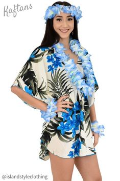 Pretty in Blue Plumeria Floral Ladies Kaftan Poncho beach cover up & lei set. Throw this delightful caftan over your bikinis or jeans for a day at the beach, cruising or casual wear. Add a lei set to complete your tropical party look. Lots of colours and patterns to choose from.  #poncho #kaftan #bikini #beachcoverup #caftan #luau #luauparty #cruise #cruisewear #fancydress #hens #bachelorette #tropical #tropicalparty #costume