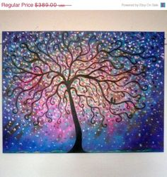Large original oil painting  size 40 x 30 x 1    Folk Tree with lovebirds  Colors purples , pink