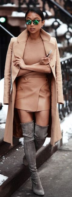 Camel Leather Wrap Mini Skirt + Grey Over The Knee Booties.