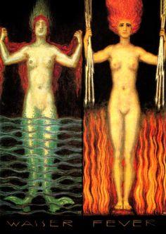 Wasser und Feuer, Franz von Stuck. German Symbolist Painter (1863-1928) water, wasser und, und feuer, art, von stuck, 1913, franz von, fire, franz stuck