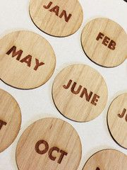Wood Veneer Circle Months