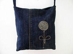 Маленькая сумочка из джинсов. Часть вторая - декорирование   Ярмарка Мастеров - ручная работа, handmade-designing on jean tote & purse with Zippers-tutorial really cool