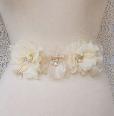 Bridal Sash, Bridal Belt, Wedding, Bridal, Floral, Beaded, Sash, Ivory, Champagne, White - Handmade by FancieStrands. $85.00, via Etsy.