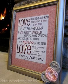 """Printable ... Valentine's Day """"Love Is ..."""" 1 Corinthians 13: Subway Art.  from Christina's Adventures."""