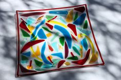 Multi-Colored Fused Glass Plate