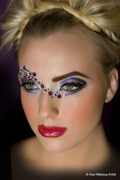colorful purple makeup with gems