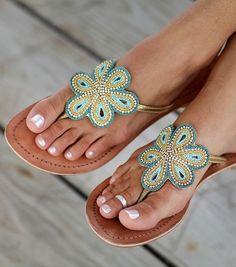 "SplendidAvenue.com - Aspiga Leather ""Bari"" Sandal - Turq. $129"