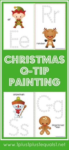 Christmas Q-Tip Painting Printables from @{1plus1plus1} Carisa