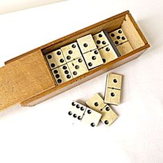 Set of Wood and Bone Dominoes, Boxed. Click on the image for more information.