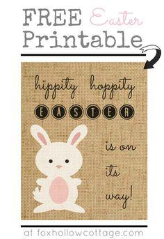 Fox Hollow Cottage: Burlap Bunny Easter Art {free printable}