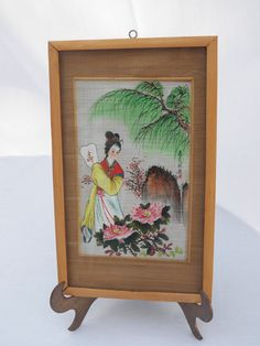 Vintage Hand Painted on Bamboo Geisha with by 1littletreasureshop, $24.00