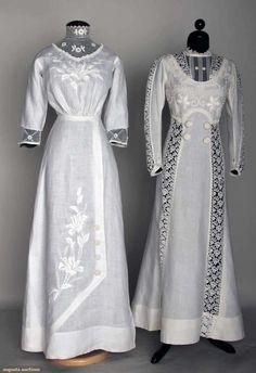Two White Linen Summer Dresses, C. 1908