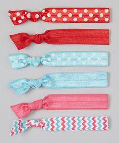 Look what I found on #zulily! Aqua & Red Polka Dot & Zigzag Hair Tie Set #zulilyfinds