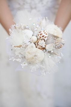 Shell Wedding Bouquet - Beach Ideas via www.themajecticvision.com