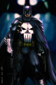 """Joker's Worst Nightmare"" Batman/Punisher by MrWills"