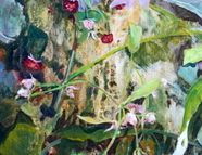 WILD RASPBERRIES, ONE OF A KIND,  REALISM,GREEN,BERRIES,ACRYLIC,GALLERY CANVAS $325