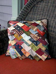 old ties, tie quilt, neckties crafts, tie pillow, necktie crafts, beads, neckti pillow, neckti craft, pillows