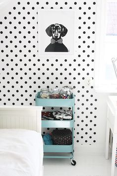 Polka dot wallpaper for my laundry room...swoon