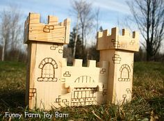Toy Castle Dollhouse Wooden Play Kids Medieval by FunnyFarmToyBarn, $60.00