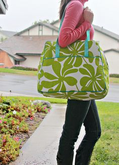 Green & white flowers.  Weekender Bag Tutorial