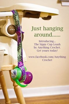 Crocheted Child's Toy or Sippy Cup Leash/Strap by AnythingCrochet, $12.00