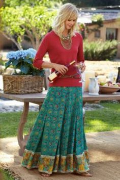 Myrina Skirt from Soft Surroundings  Silk-like poly, fully lined. Beautiful