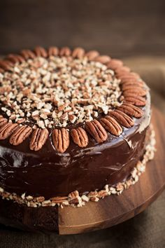 Triple chocolate cake with toasted pecans