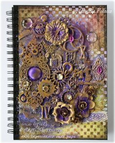 Mixed Media Art Journal Cover Tutorial by Gabrielle Pollacco using Dusty Attic Design Chipboard and a variety of mixed media products (Silks, H2O's, texture paste) art journals covers, journal covers, book covers, mixed media art journal