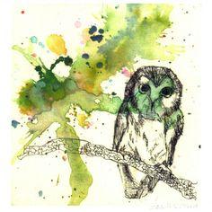 Owl in a Splash of Color Bird Watercolor Painting Fine by idillard, $20.00
