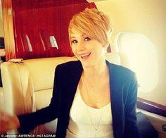 Love Jennifer Lawrence's new #pixiecut #TheHungerGames #CatchingFire #Katniss #hairchange #thebigchop