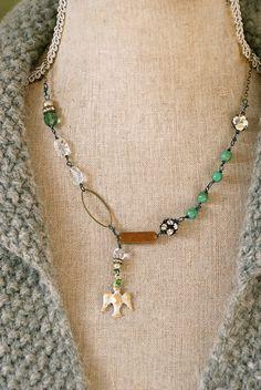 Faith. rhinestone,bohemian,holiday dove necklace. Tiedupmemories