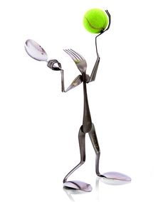 Take a look at this Fork Tennis Player Sculpture by Forked Up Art on #zulily today!