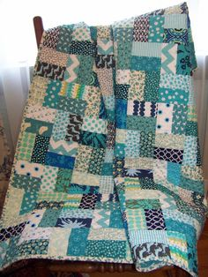 Aqua Lovers Scrappy Quilt  Baby Girl by SouthernBelleDesigns, $130.00