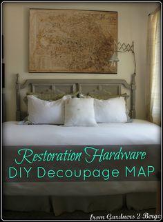 decor, decoupag map, idea, restoration hardware, maps, restor hardwar, restorations, diy, decoupage
