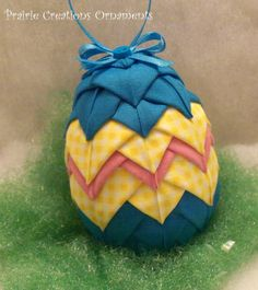 Quilted Ornament Easter Egg Traditional Stripes