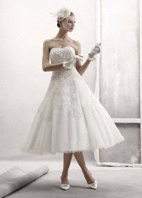 Strapless Tulle Embellished Tea Length Gown Style CPK437 from David's Bridal