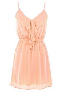 front dress, peach summer dress, cowboy boots, ruffl front, style