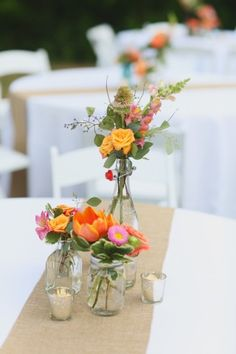 Eclectic pink and orange centerpiece