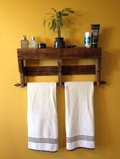 Rustic Pallet Towel Rack Shelf Bathroom by ReformedByLeviathan