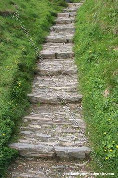 stone steps, landscaping ideas, yard, stone paths, landscap idea, hillside landscaping, hous, garden step, step up